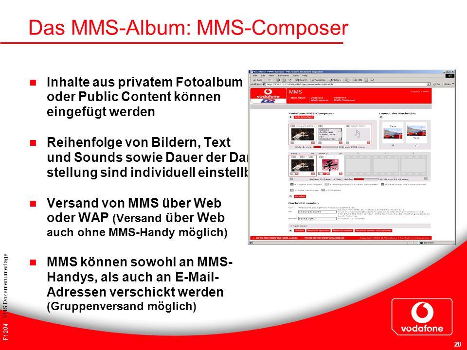 F1204 VHS Dozentenunterlage 28 Das MMS-Album: MMS-Composer Inhalte aus privatem Fotoalbum oder Public Content können eingefügt werden Reihenfolge von
