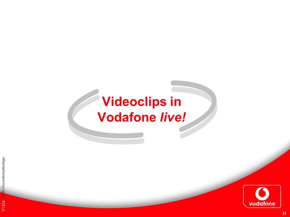 F1204 VHS Dozentenunterlage 31 Videoclips in Vodafone live!