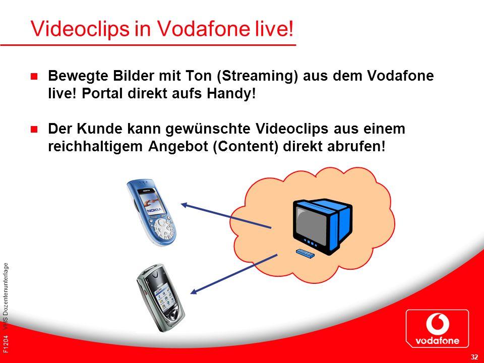 F1204 VHS Dozentenunterlage 32 Videoclips in Vodafone live! Bewegte Bilder mit Ton (Streaming) aus dem Vodafone live! Portal direkt aufs Handy! Der Ku