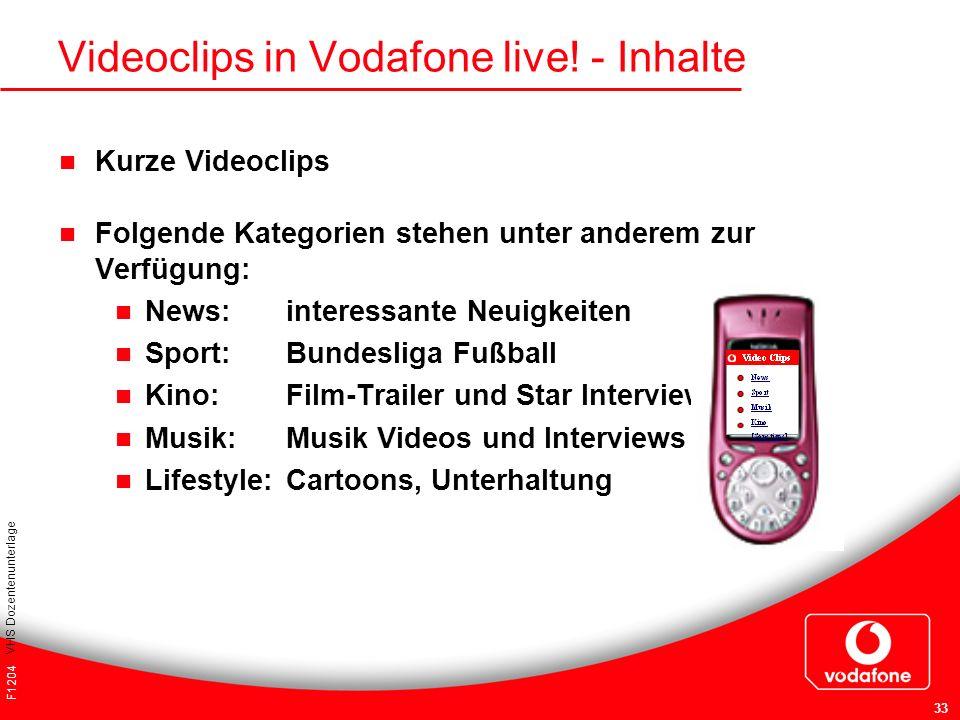 F1204 VHS Dozentenunterlage 33 Kurze Videoclips Folgende Kategorien stehen unter anderem zur Verfügung: News: interessante Neuigkeiten Sport: Bundesli