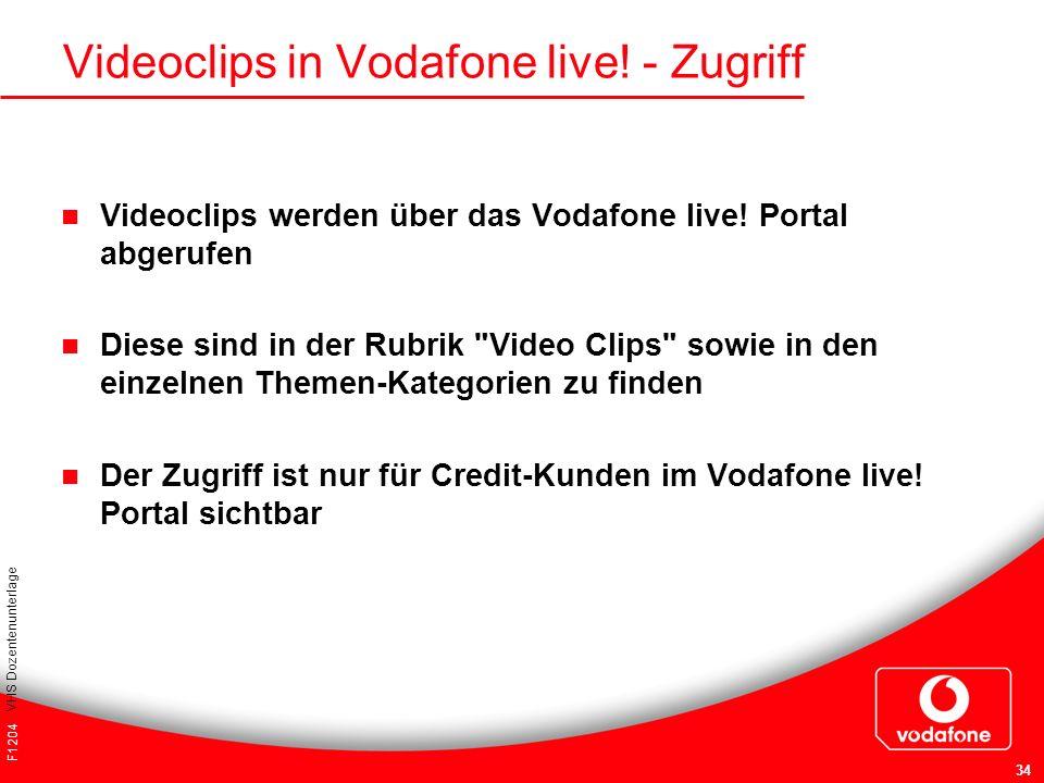 F1204 VHS Dozentenunterlage 34 Videoclips in Vodafone live! - Zugriff Videoclips werden über das Vodafone live! Portal abgerufen Diese sind in der Rub