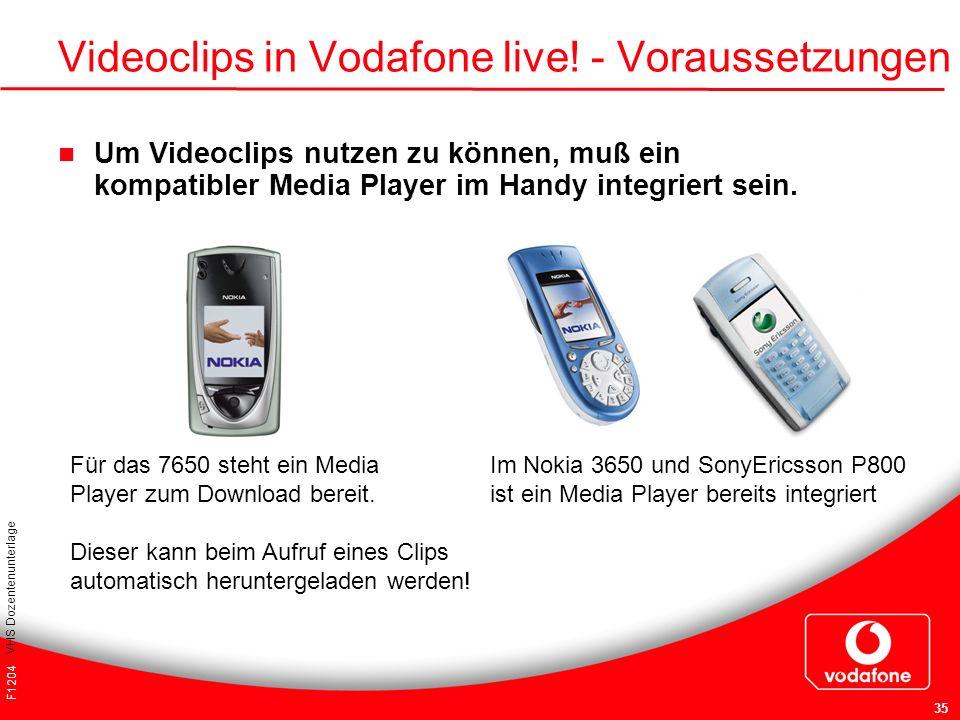 F1204 VHS Dozentenunterlage 35 Videoclips in Vodafone live! - Voraussetzungen Um Videoclips nutzen zu können, muß ein kompatibler Media Player im Hand