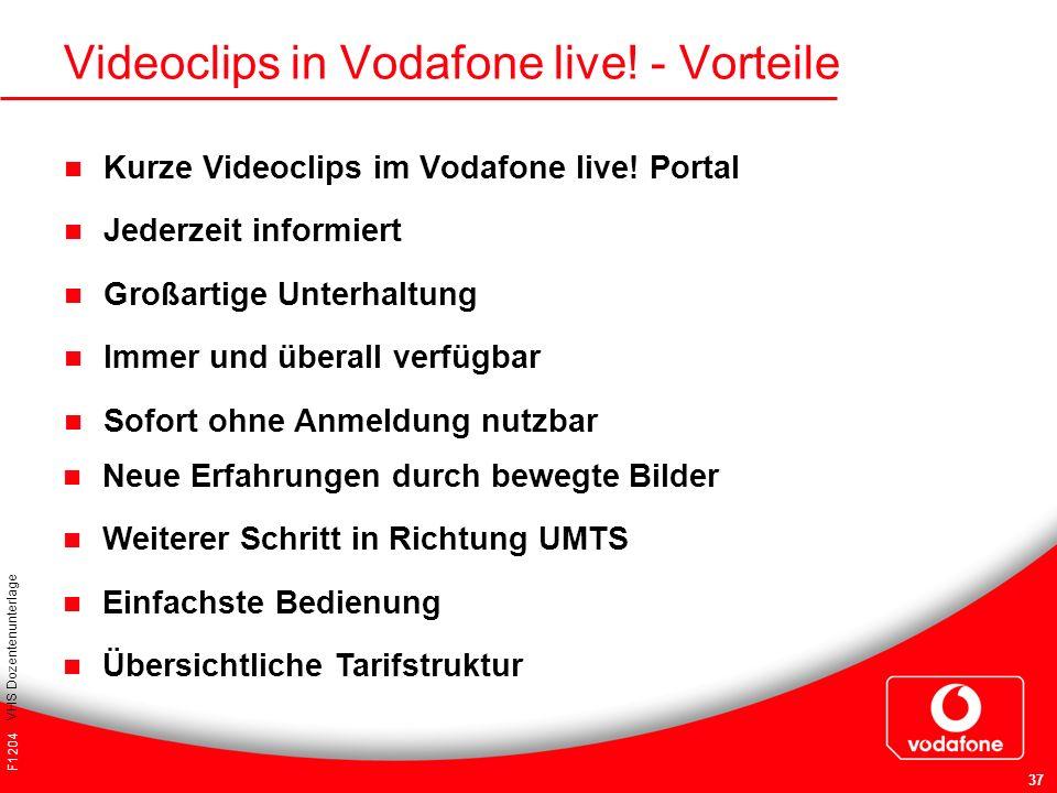 F1204 VHS Dozentenunterlage 37 Videoclips in Vodafone live! - Vorteile Kurze Videoclips im Vodafone live! Portal Jederzeit informiert Großartige Unter