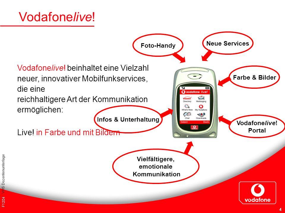 F1204 VHS Dozentenunterlage 4 Vodafonelive! Neue Services Vielfältigere, emotionale Kommunikation Infos & Unterhaltung Farbe & Bilder Vodafonelive! Po