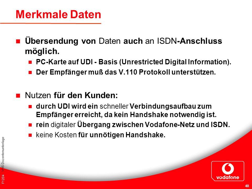 F1204 VHS Dozentenunterlage 48 Merkmale Daten Übersendung von Daten auch an ISDN-Anschluss möglich. PC-Karte auf UDI - Basis (Unrestricted Digital Inf