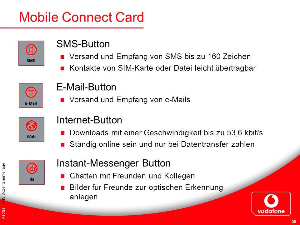 F1204 VHS Dozentenunterlage 58 Mobile Connect Card SMS-Button Versand und Empfang von SMS bis zu 160 Zeichen Kontakte von SIM-Karte oder Datei leicht