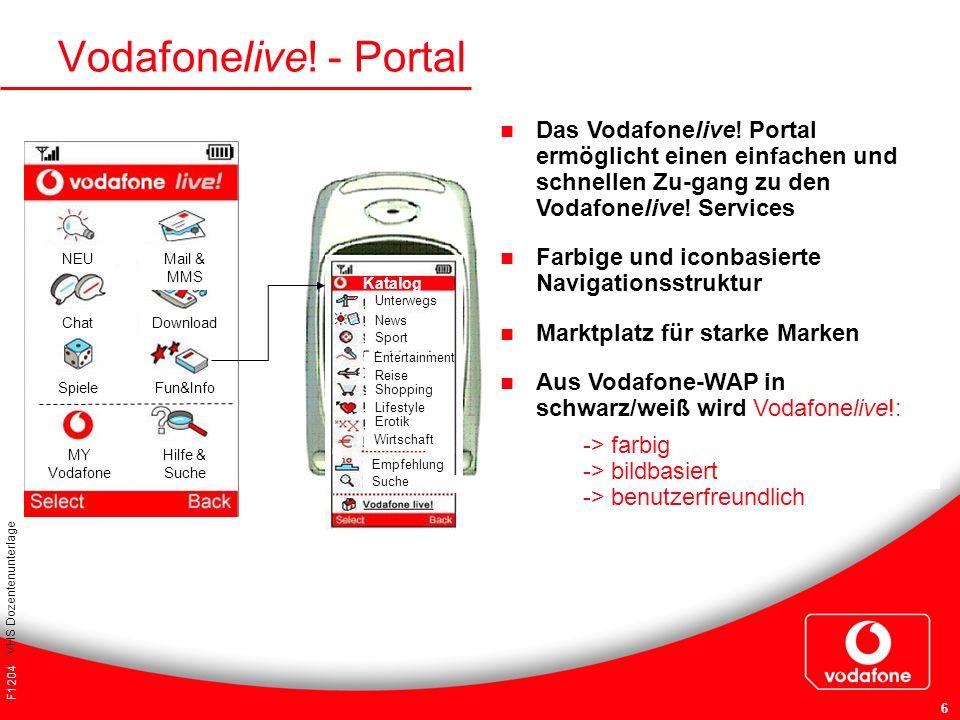 F1204 VHS Dozentenunterlage 6 Vodafonelive! - Portal Das Vodafonelive! Portal ermöglicht einen einfachen und schnellen Zu-gang zu den Vodafonelive! Se