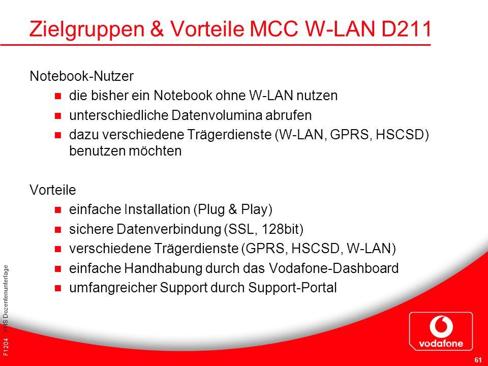 F1204 VHS Dozentenunterlage 61 Zielgruppen & Vorteile MCC W-LAN D211 Notebook-Nutzer die bisher ein Notebook ohne W-LAN nutzen unterschiedliche Datenv