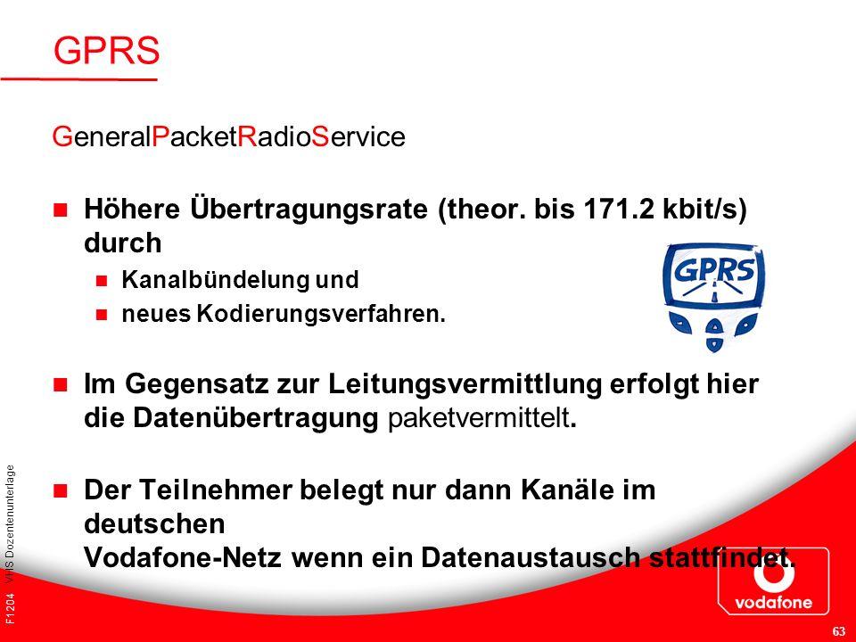 F1204 VHS Dozentenunterlage 63 GeneralPacketRadioService Höhere Übertragungsrate (theor. bis 171.2 kbit/s) durch Kanalbündelung und neues Kodierungsve