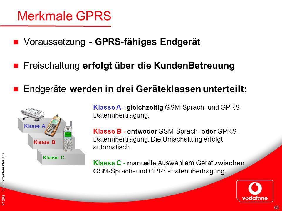 F1204 VHS Dozentenunterlage 65 Voraussetzung - GPRS-fähiges Endgerät Freischaltung erfolgt über die KundenBetreuung Endgeräte werden in drei Gerätekla