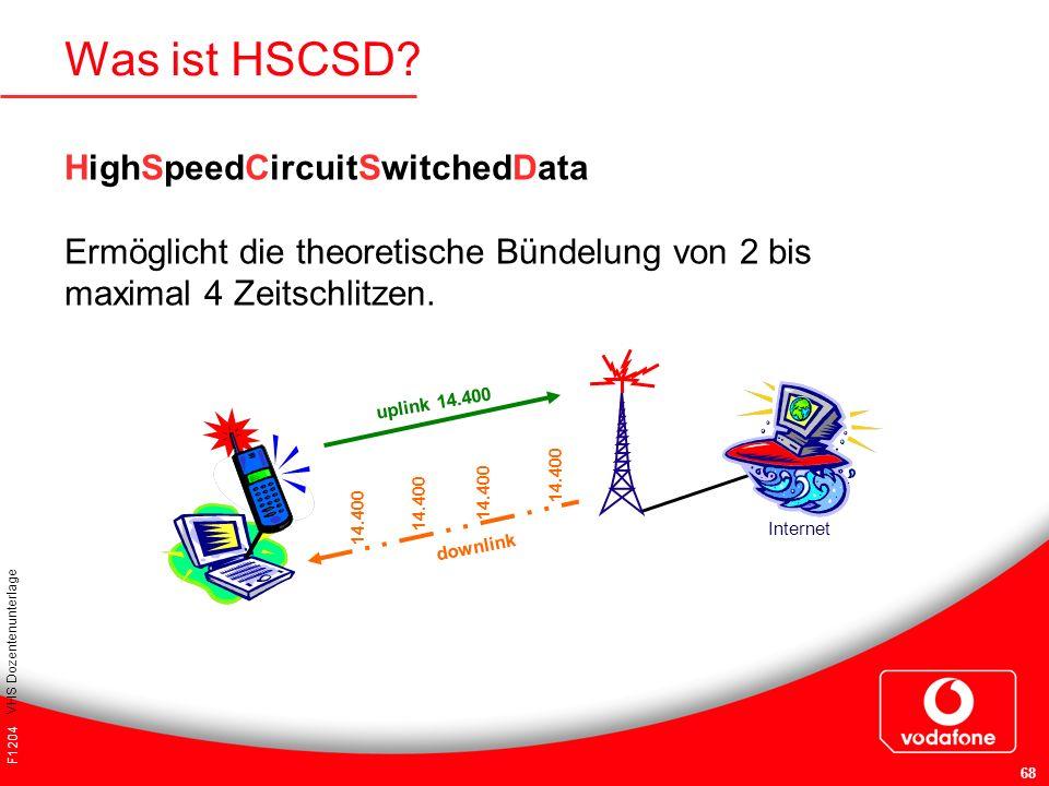 F1204 VHS Dozentenunterlage 68 Was ist HSCSD? 14.400 uplink 14.400 downlink Internet HighSpeedCircuitSwitchedData Ermöglicht die theoretische Bündelun