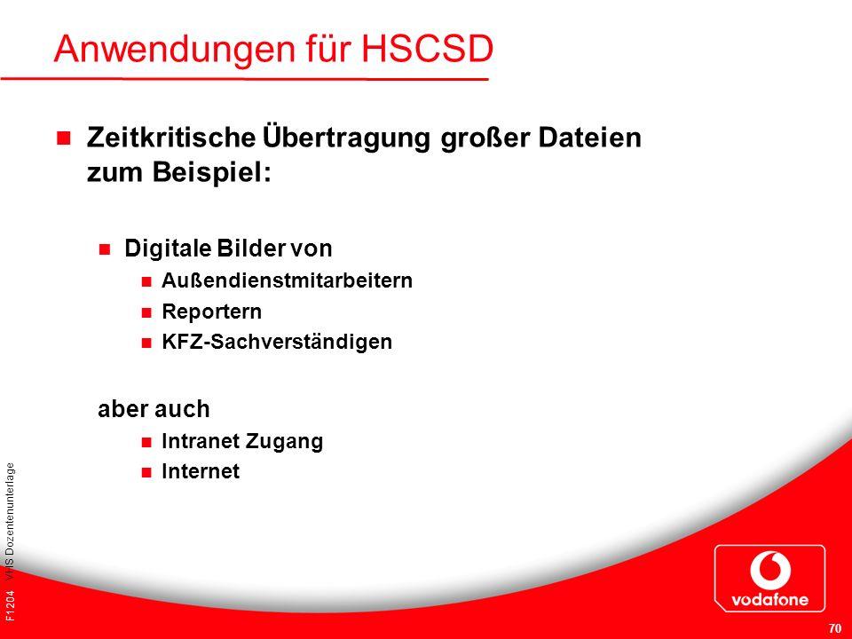 F1204 VHS Dozentenunterlage 70 Anwendungen für HSCSD Zeitkritische Übertragung großer Dateien zum Beispiel: Digitale Bilder von Außendienstmitarbeiter