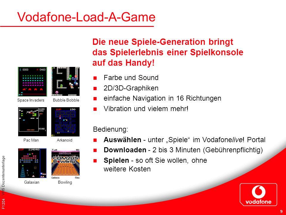 F1204 VHS Dozentenunterlage 9 Vodafone-Load-A-Game Farbe und Sound 2D/3D-Graphiken einfache Navigation in 16 Richtungen Vibration und vielem mehr! Bed
