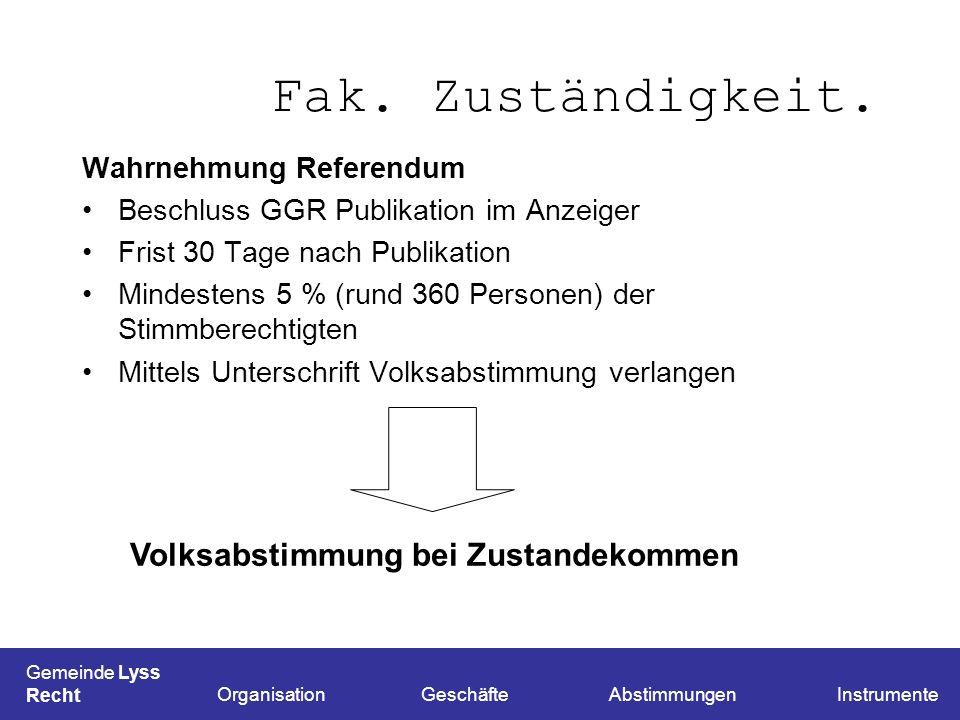 Fak. Zuständigkeit. Wahrnehmung Referendum Beschluss GGR Publikation im Anzeiger Frist 30 Tage nach Publikation Mindestens 5 % (rund 360 Personen) der