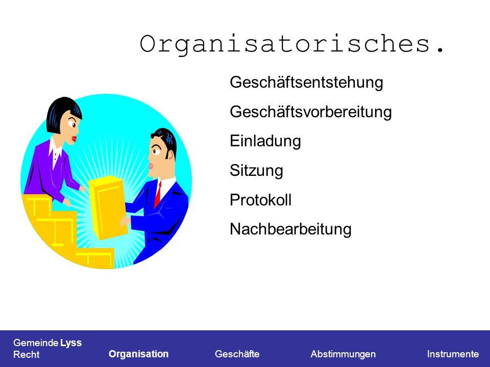 Organisatorisches. Gemeinde Lyss Recht OrganisationGeschäfteAbstimmungenInstrumente Geschäftsentstehung Geschäftsvorbereitung Einladung Sitzung Protok
