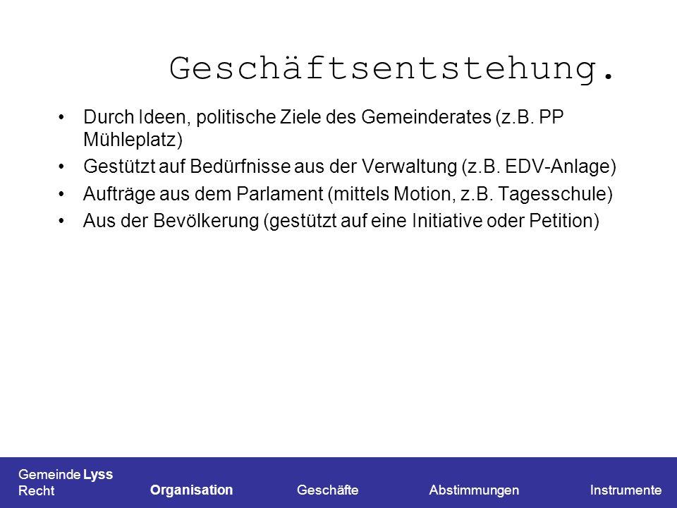 Geschäftsentstehung. Durch Ideen, politische Ziele des Gemeinderates (z.B. PP Mühleplatz) Gestützt auf Bedürfnisse aus der Verwaltung (z.B. EDV-Anlage