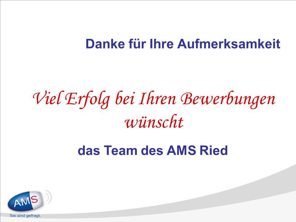 Danke für Ihre Aufmerksamkeit Viel Erfolg bei Ihren Bewerbungen wünscht das Team des AMS Ried