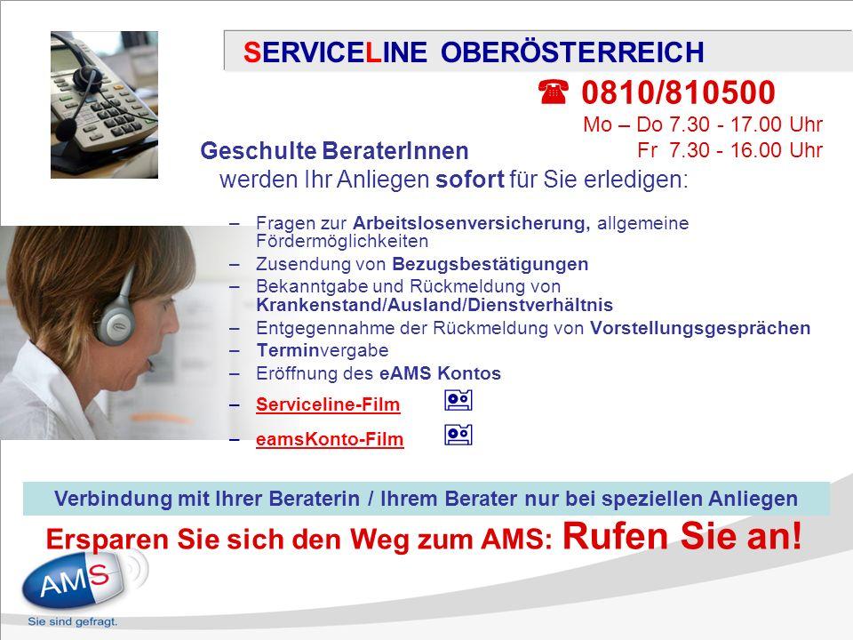 SERVICELINE OBERÖSTERREICH –Fragen zur Arbeitslosenversicherung, allgemeine Fördermöglichkeiten –Zusendung von Bezugsbestätigungen –Bekanntgabe und Rü