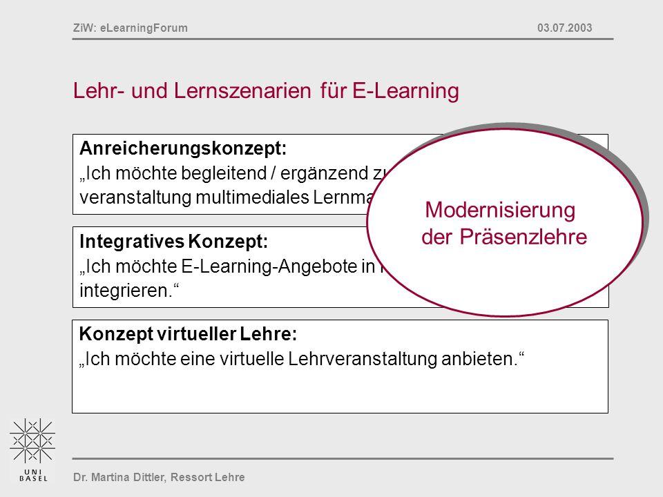 Dr. Martina Dittler, Ressort Lehre ZiW: eLearningForum 03.07.2003 Lehr- und Lernszenarien für E-Learning Konzept virtueller Lehre: Ich möchte eine vir