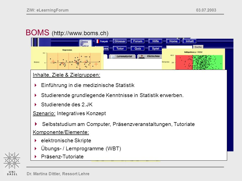 Dr. Martina Dittler, Ressort Lehre ZiW: eLearningForum 03.07.2003 BOMS (http://www.boms.ch) Inhalte, Ziele & Zielgruppen: Einführung in die medizinisc