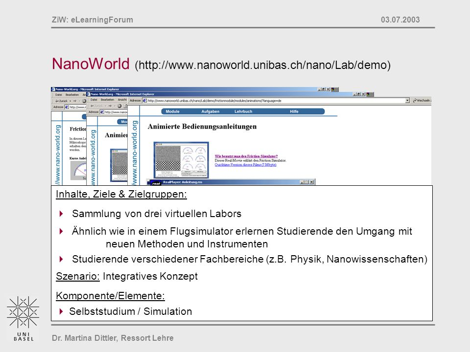 Dr. Martina Dittler, Ressort Lehre ZiW: eLearningForum 03.07.2003 NanoWorld (http://www.nanoworld.unibas.ch/nano/Lab/demo) Inhalte, Ziele & Zielgruppe