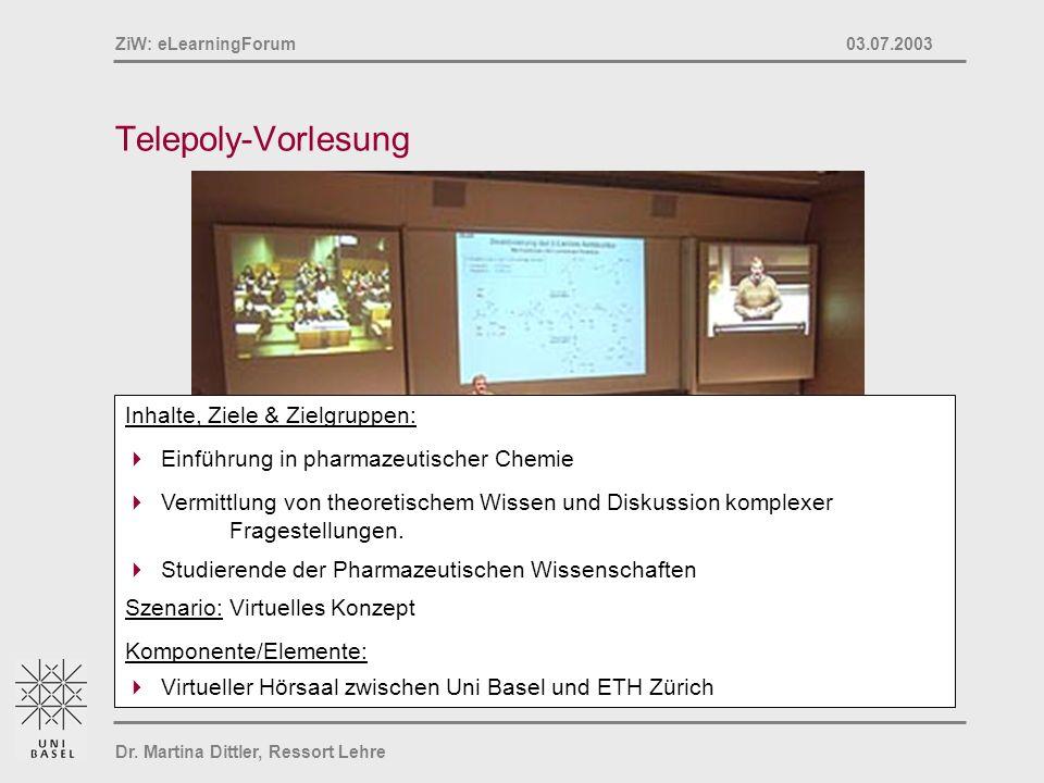 Dr. Martina Dittler, Ressort Lehre ZiW: eLearningForum 03.07.2003 Telepoly-Vorlesung Inhalte, Ziele & Zielgruppen: Einführung in pharmazeutischer Chem