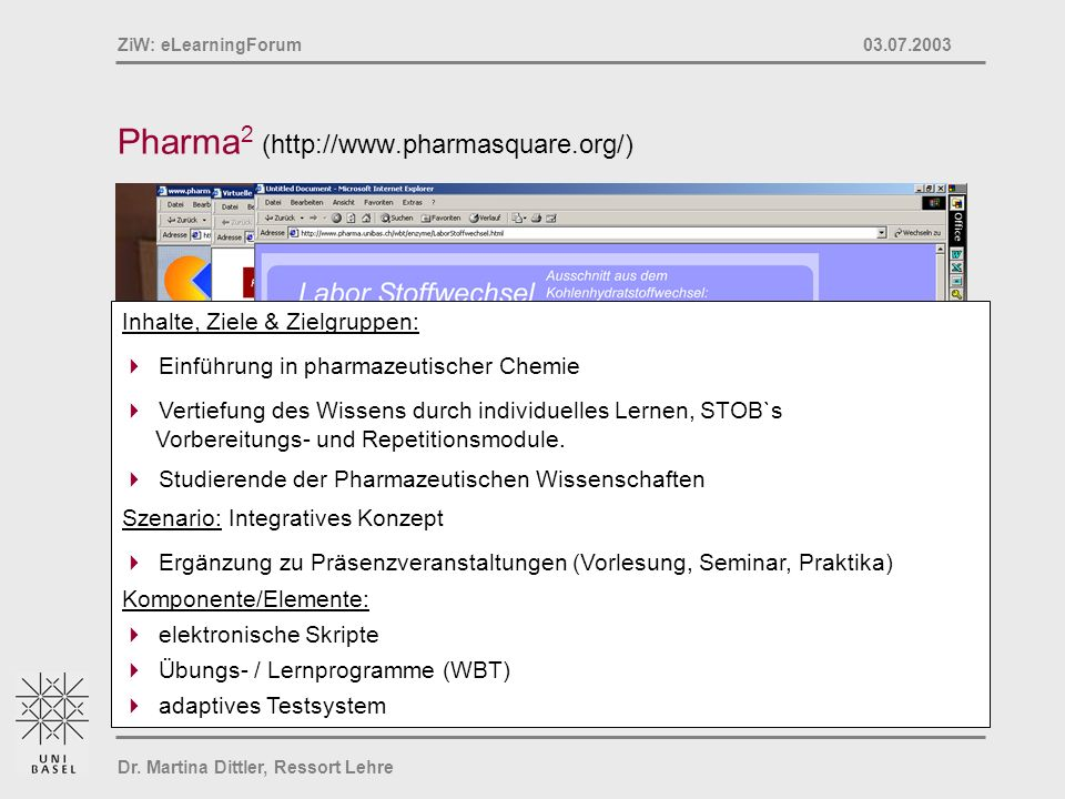 Dr. Martina Dittler, Ressort Lehre ZiW: eLearningForum 03.07.2003 Pharma 2 (http://www.pharmasquare.org/) Inhalte, Ziele & Zielgruppen: Einführung in