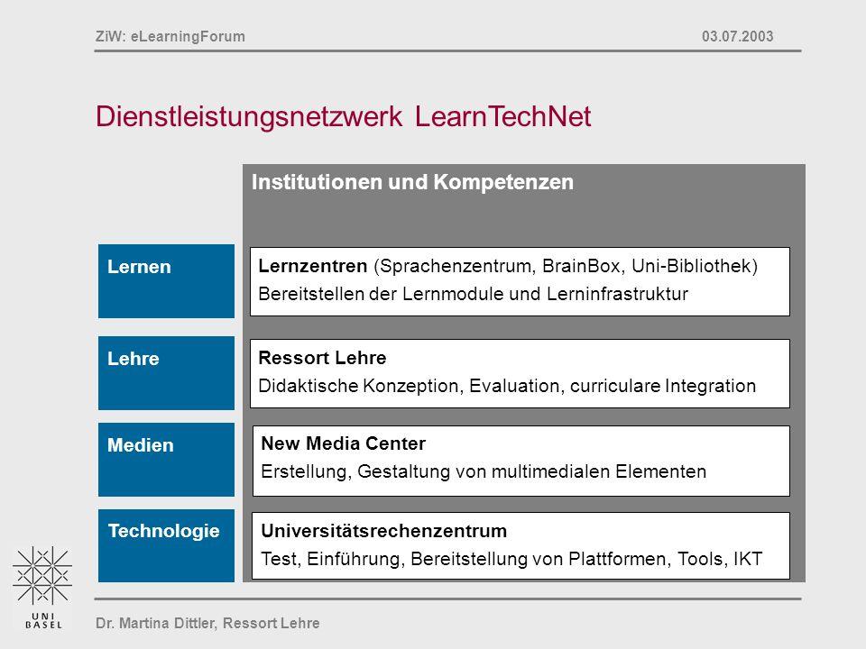 Dr. Martina Dittler, Ressort Lehre ZiW: eLearningForum 03.07.2003 Dienstleistungsnetzwerk LearnTechNet Institutionen und Kompetenzen Ressort Lehre Did