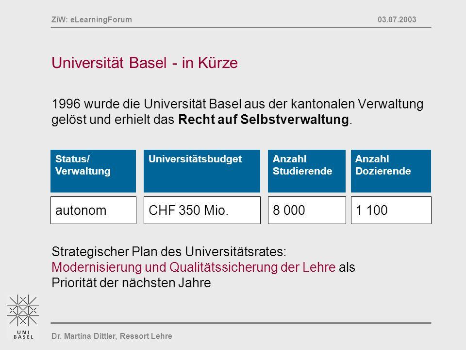 Dr. Martina Dittler, Ressort Lehre ZiW: eLearningForum 03.07.2003 Universität Basel - in Kürze 1996 wurde die Universität Basel aus der kantonalen Ver