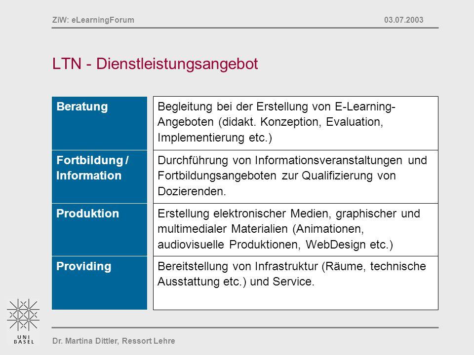 Dr. Martina Dittler, Ressort Lehre ZiW: eLearningForum 03.07.2003 LTN - Dienstleistungsangebot Begleitung bei der Erstellung von E-Learning- Angeboten