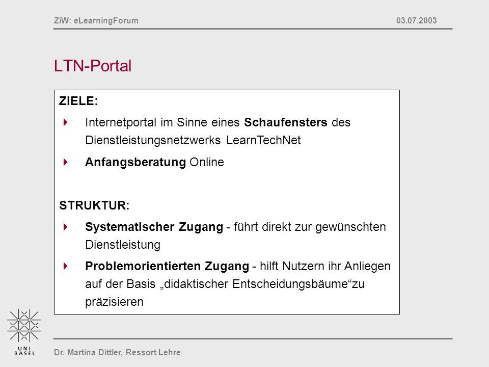 Dr. Martina Dittler, Ressort Lehre ZiW: eLearningForum 03.07.2003 LTN-Portal ZIELE: Internetportal im Sinne eines Schaufensters des Dienstleistungsnet
