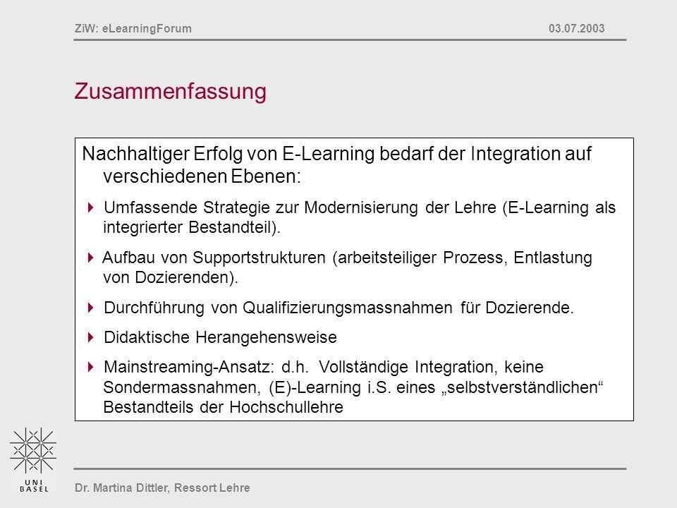 Dr. Martina Dittler, Ressort Lehre ZiW: eLearningForum 03.07.2003 Zusammenfassung Nachhaltiger Erfolg von E-Learning bedarf der Integration auf versch