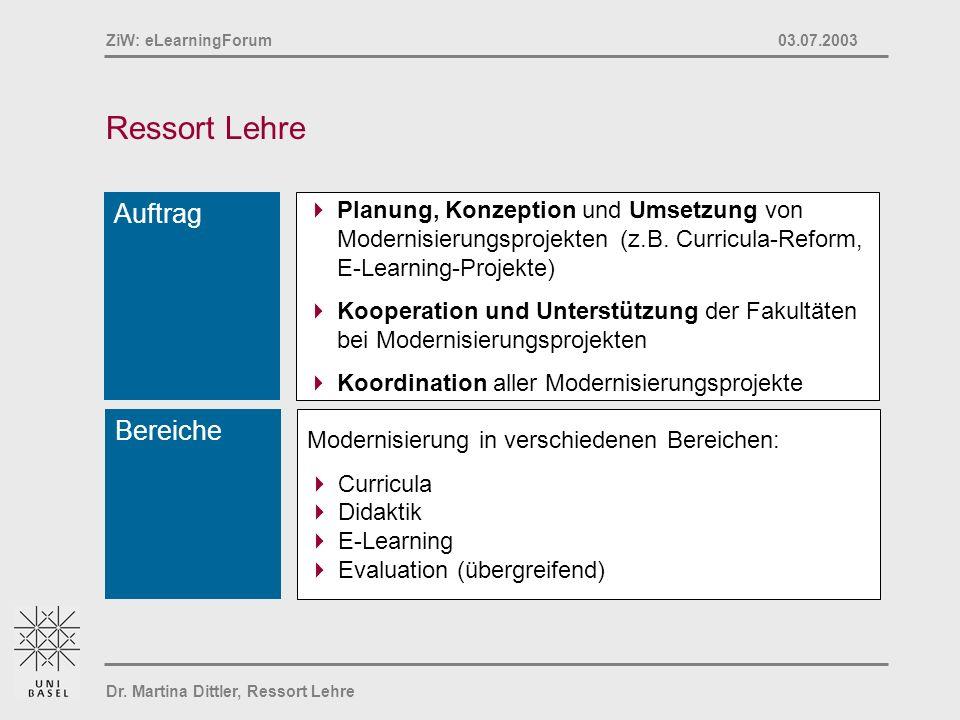 Dr. Martina Dittler, Ressort Lehre ZiW: eLearningForum 03.07.2003 Ressort Lehre Auftrag Planung, Konzeption und Umsetzung von Modernisierungsprojekten