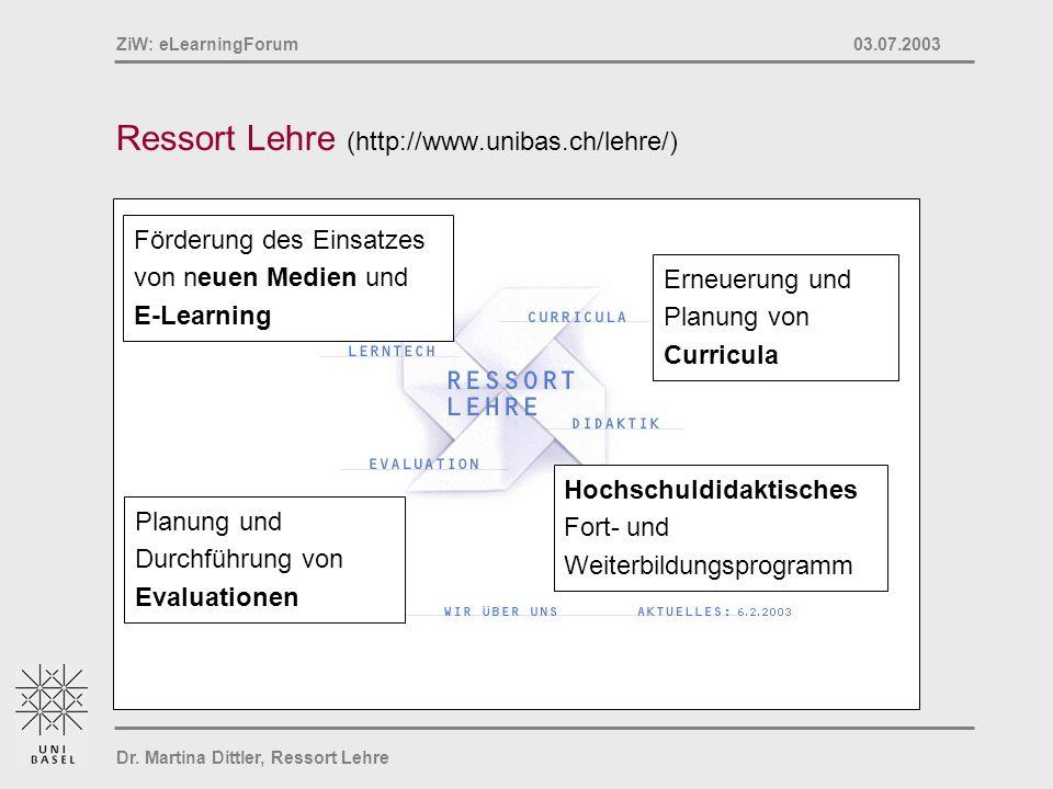 Dr. Martina Dittler, Ressort Lehre ZiW: eLearningForum 03.07.2003 Ressort Lehre (http://www.unibas.ch/lehre/) Planung und Durchführung von Evaluatione