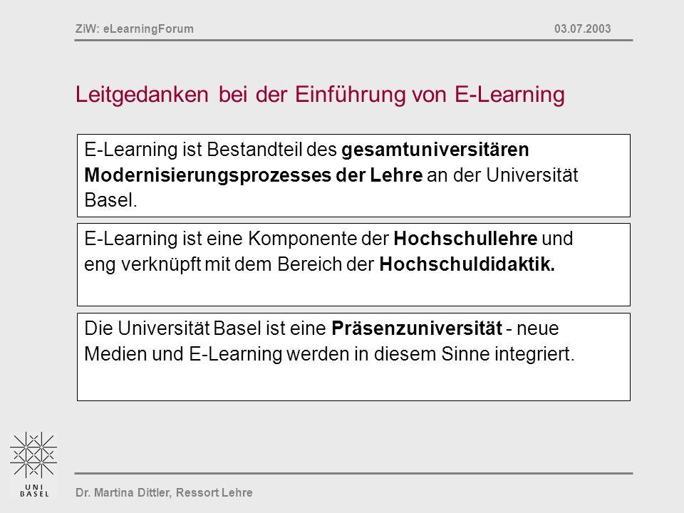 Dr. Martina Dittler, Ressort Lehre ZiW: eLearningForum 03.07.2003 Leitgedanken bei der Einführung von E-Learning Die Universität Basel ist eine Präsen