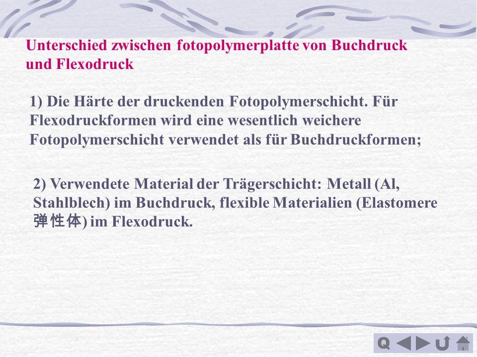 Q Unterschied zwischen fotopolymerplatte von Buchdruck und Flexodruck 1) Die Härte der druckenden Fotopolymerschicht. Für Flexodruckformen wird eine w