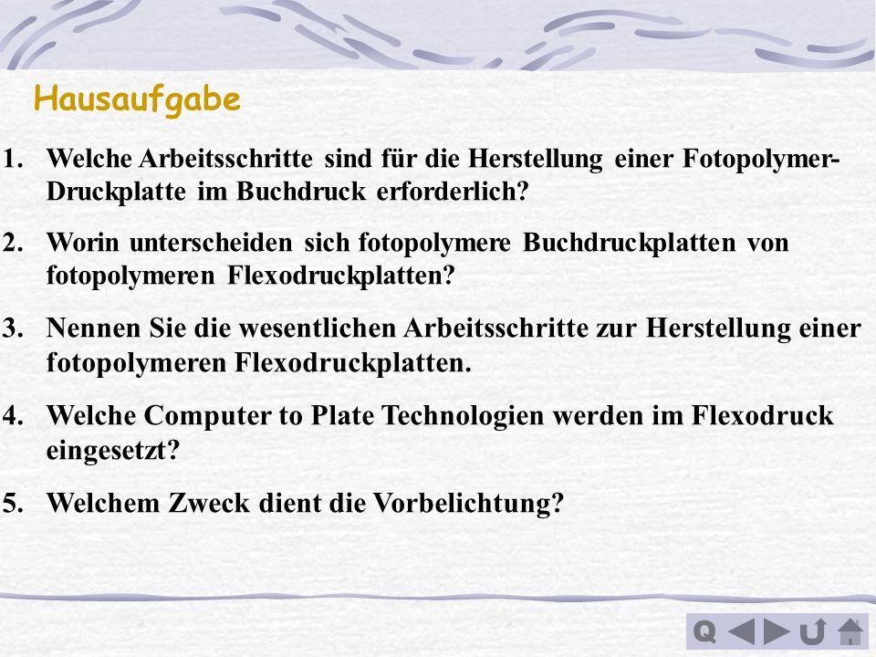 Q Hausaufgabe 1.Welche Arbeitsschritte sind für die Herstellung einer Fotopolymer- Druckplatte im Buchdruck erforderlich? 2.Worin unterscheiden sich f