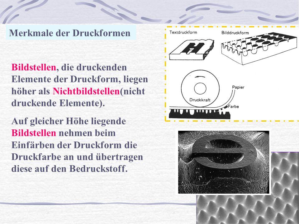 Q Merkmale der Druckformen Bildstellen, die druckenden Elemente der Druckform, liegen höher als Nichtbildstellen(nicht druckende Elemente). Auf gleich