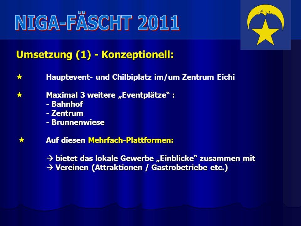 Umsetzung (1) - Konzeptionell: Hauptevent- und Chilbiplatz im/um Zentrum Eichi Maximal 3 weitere Eventplätze : Maximal 3 weitere Eventplätze : - Bahnh