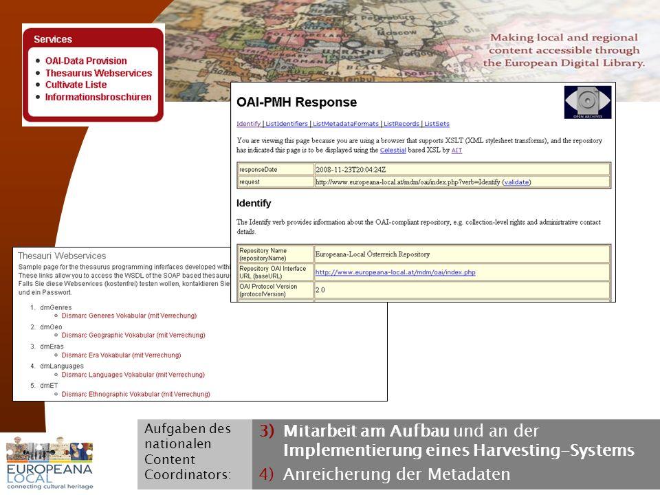 November 2008 G. Koch 17 3)Mitarbeit am Aufbau und an der Implementierung eines Harvesting-Systems 4)Anreicherung der Metadaten Aufgaben des nationale