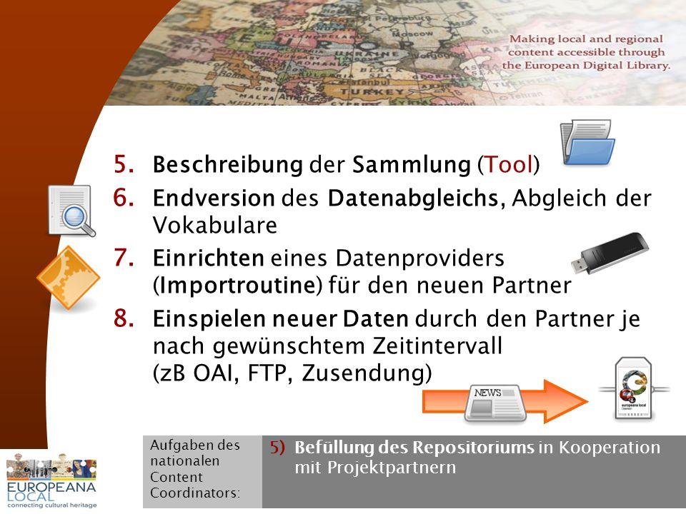 November 2008 G. Koch 21 5. Beschreibung der Sammlung (Tool) 6. Endversion des Datenabgleichs, Abgleich der Vokabulare 7. Einrichten eines Datenprovid