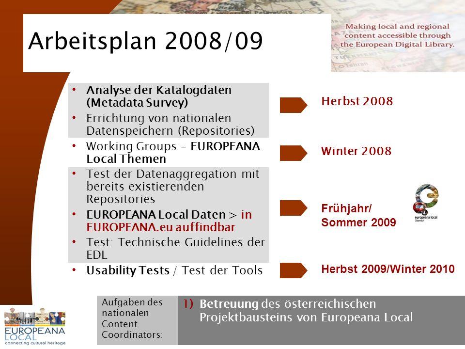 November 2008 G. Koch 6 Arbeitsplan 2008/09 Analyse der Katalogdaten (Metadata Survey) Errichtung von nationalen Datenspeichern (Repositories) Working