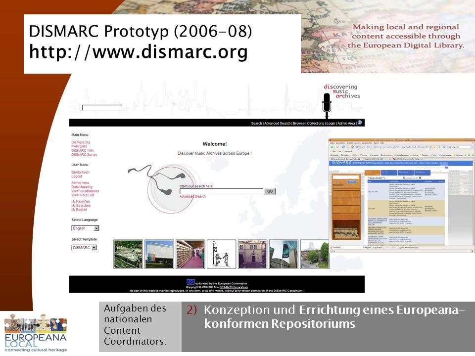 November 2008 G. Koch 8 DISMARC Prototyp (2006-08) http://www.dismarc.org Aufgaben des nationalen Content Coordinators: 2)Konzeption und Errichtung ei