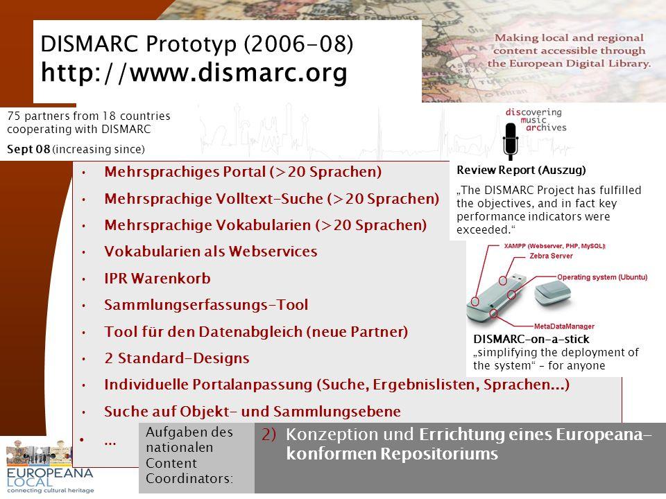 November 2008 G. Koch 9 DISMARC Prototyp (2006-08) http://www.dismarc.org Mehrsprachiges Portal (>20 Sprachen) Mehrsprachige Volltext-Suche (>20 Sprac