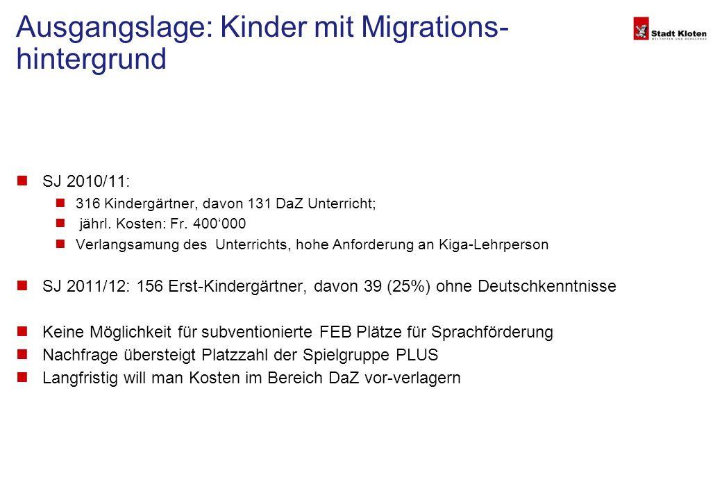 Ausgangslage: Kinder mit Migrations- hintergrund SJ 2010/11: 316 Kindergärtner, davon 131 DaZ Unterricht; jährl.