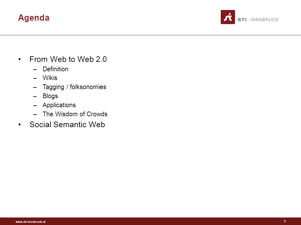 www.sti-innsbruck.at Web 2.0 ontology building Make use of various Web 2.0 paradigms to capture knowledge required for ontologies Lower entrance barriers for users Usually emphasis on collaboration Ontologies as community contracts Methods for consensus finding Visualization of ontologies Examples: –Myontology –Soboleo (image annotation) 43