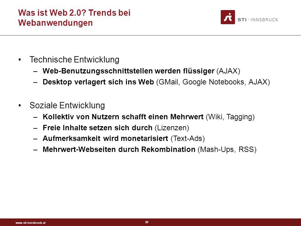 www.sti-innsbruck.at 20 Was ist Web 2.0.