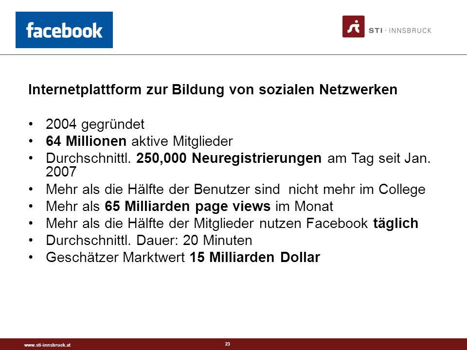 www.sti-innsbruck.at 23 Internetplattform zur Bildung von sozialen Netzwerken 2004 gegründet 64 Millionen aktive Mitglieder Durchschnittl.