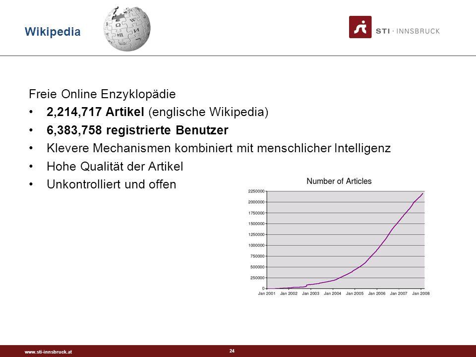 www.sti-innsbruck.at 24 Freie Online Enzyklopädie 2,214,717 Artikel (englische Wikipedia) 6,383,758 registrierte Benutzer Klevere Mechanismen kombiniert mit menschlicher Intelligenz Hohe Qualität der Artikel Unkontrolliert und offen Wikipedia