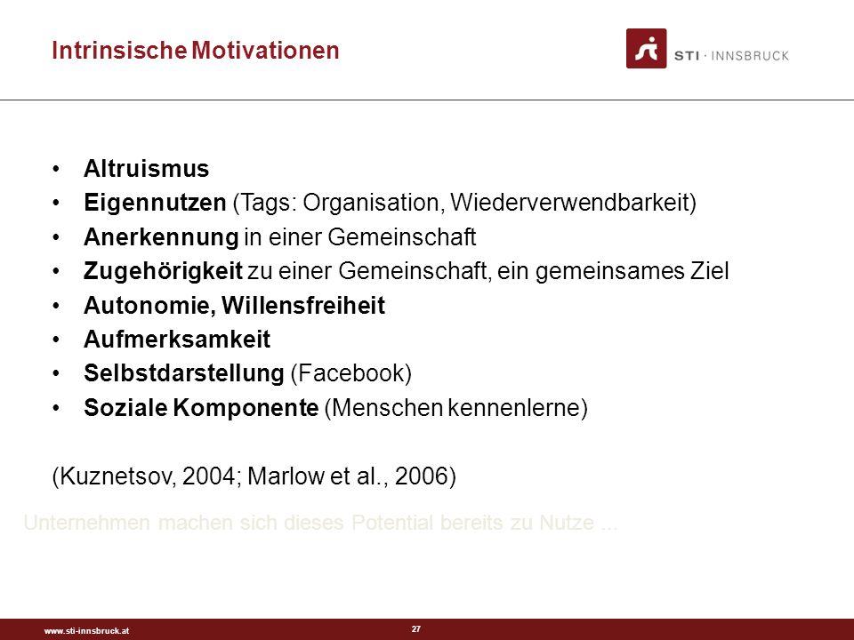www.sti-innsbruck.at 27 Intrinsische Motivationen Altruismus Eigennutzen (Tags: Organisation, Wiederverwendbarkeit) Anerkennung in einer Gemeinschaft Zugehörigkeit zu einer Gemeinschaft, ein gemeinsames Ziel Autonomie, Willensfreiheit Aufmerksamkeit Selbstdarstellung (Facebook) Soziale Komponente (Menschen kennenlerne) (Kuznetsov, 2004; Marlow et al., 2006) Unternehmen machen sich dieses Potential bereits zu Nutze...
